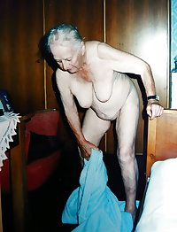 Old granny undressing