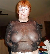 Gran granny mature wearing sheer tops