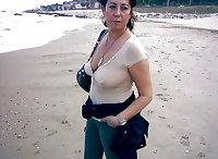 Gran granny mature wearing sheer tops
