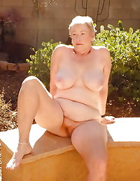 lovely granny outside in the garden
