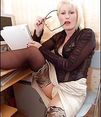 Older lady works at home